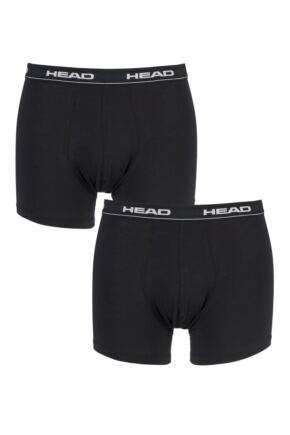 Mens 2 Pack Head Basic Cotton Boxer Shorts In Black