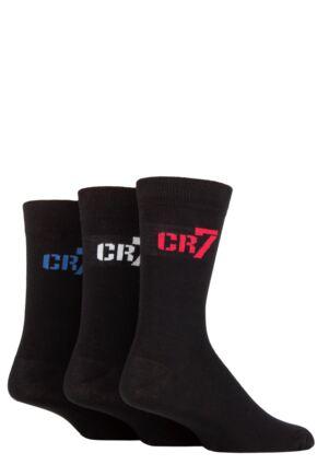 Boys 3 Pair CR7 Cotton Socks Black 11.5-1.5 Kids