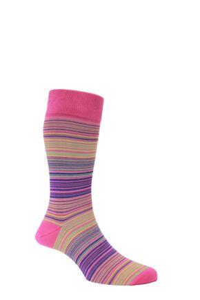 Mens 1 Pair HJ Hall Mercerised Cotton Atlanta Multi Coloured Fine Striped Socks Fuchsia 7-10