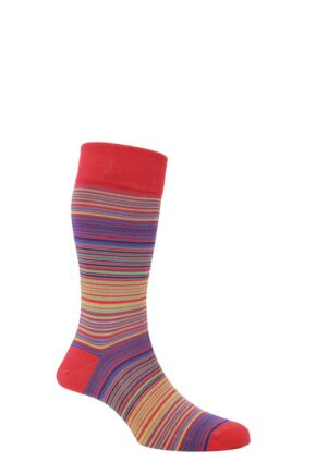 Mens 1 Pair HJ Hall Mercerised Cotton Atlanta Multi Coloured Fine Striped Socks Scarlet 7-10