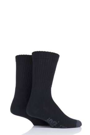 Mens 2 Pair Levis 120SF Classic Rib Cushioned Socks Jet Black 9-11