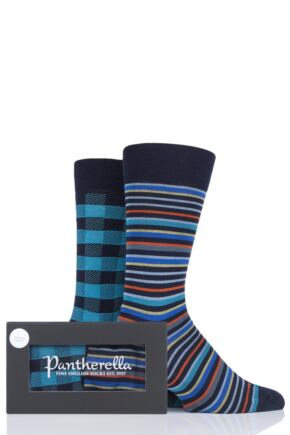 Mens 2 Pair Pantherella Check and Stripe Merino Wool Gift Box