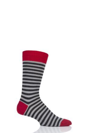 Mens 1 Pair Pantherella Harrow Stripe with Contrast Heel and Toe Merino Wool Socks Charcoal 7.5-9.5 Mens