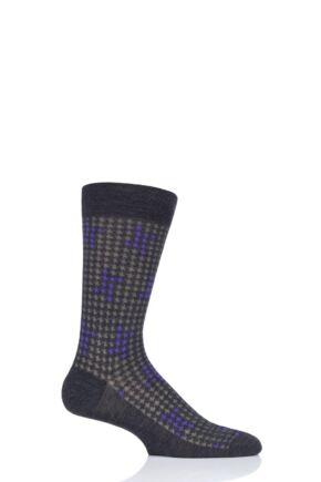 Mens 1 Pair Pantherella Hopton Houndstooth Highlight Merino Wool Socks