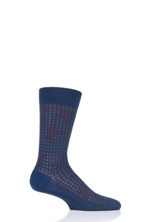 Mens 1 Pair Pantherella Hopton Houndstooth Highlight Merino Wool Socks