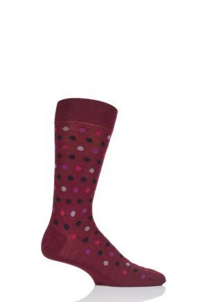 Mens 1 Pair Pantherella Moon Spot Merino Wool Socks Wine 10-12 Mens