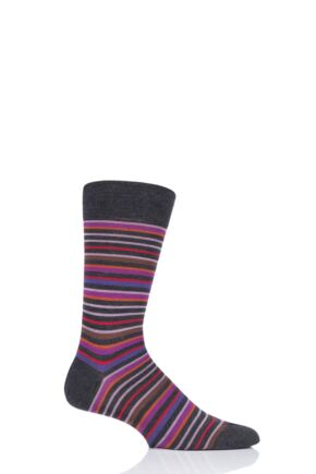 Mens 1 Pair Pantherella Sutnar Striped Merino Wool Modern Plus Socks