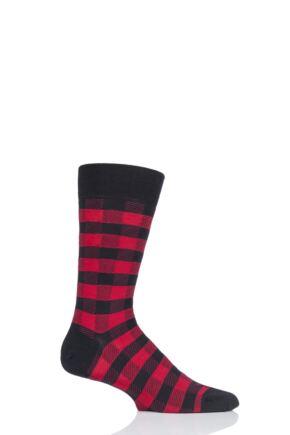 Mens 1 Pair Pantherella Cooper Gingham Check Merino Wool Modern Plus Socks