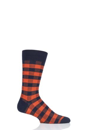 Mens 1 Pair Pantherella Cooper Gingham Check Merino Wool Modern Plus Socks