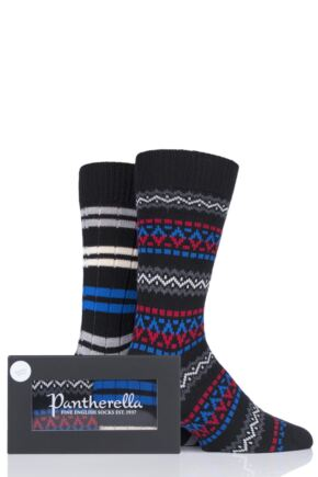 Mens 2 Pair Pantherella Fairisle and Stripe Merino Wool Gift Box