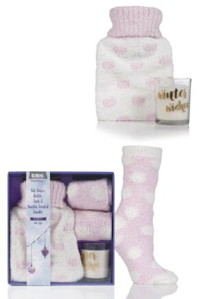 Ladies 1 Pair Totes Super Soft Bed Socks with Hot Water Bottle and Candle Gift Set Pink One Size