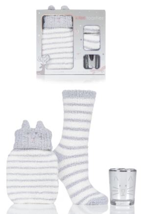 Ladies 1 Pair Totes Super Soft Bed Socks with Hot Water Bottle and Candle Gift Set