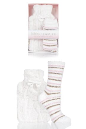 Ladies Totes Furry Hot Water Bottle and Socks Set
