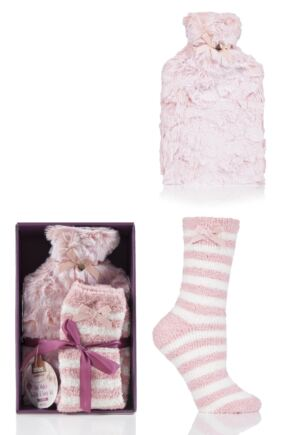 Ladies 1 Pair Totes Cosy Soft Bed Socks with Hot Water Bottle Gift Set Pink One Size