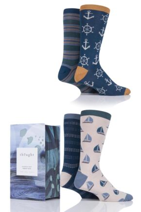 Mens 4 Pair Thought Seaward Bamboo and Organic Cotton Socks in Gift Box