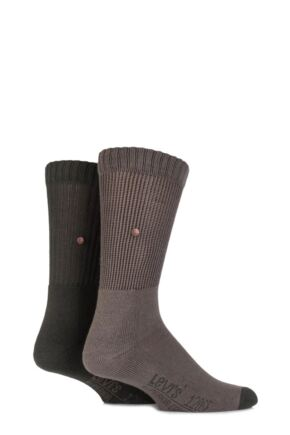 Mens 2 Pair Levis 120SF Classic Rib Inside Out Cushioned Socks Redwoods 9-11