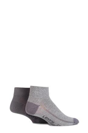 Mens 2 Pair Levis 168SF Plain Cotton Mid Cut Socks Middle Grey Melange 9-11