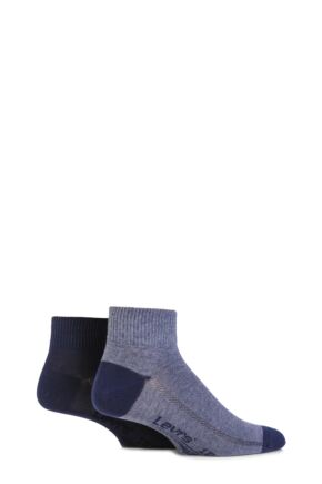 Mens 2 Pair Levis 168SF Plain Cotton Mid Cut Socks