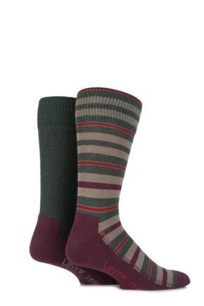 Mens 2 Pair Levis 168LS Striped Cushioned Crew Socks Redwoods 9-11