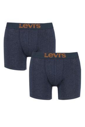 Mens 2 Pair Levis Plain Cotton Boxer Shorts In Salute 25% OFF