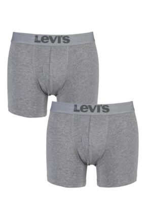Mens 2 Pack Levis Plain Cotton Boxer Shorts In Middle Grey Melange Middle Grey Melange S