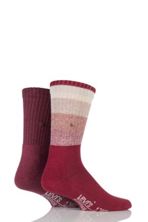 Mens 2 Pair Levis 120SF Rugby Striped Cotton Socks Rio Red 6-8