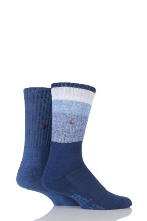 Mens 2 Pair Levis 120SF Rugby Striped Cotton Socks 25% OFF