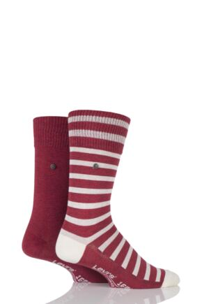 Mens 2 Pair Levis 168SF Mixed Striped Cotton Socks Rio Red 6-8