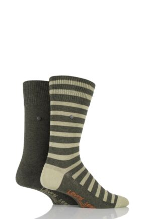 Mens 2 Pair Levis 168SF Mixed Striped Cotton Socks Beetle 9-11