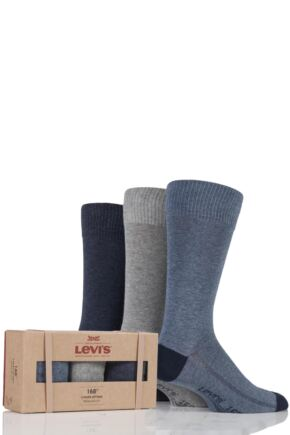 Mens 3 Pair Levis 168SF Comfort Top Cotton Socks In Gift Box Dark Denim 9-11 Mens