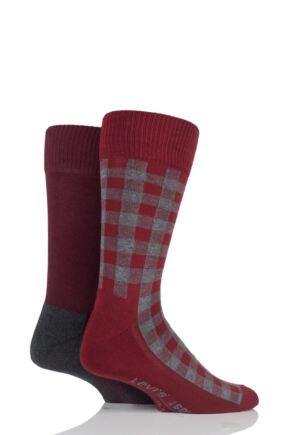 Mens 2 Pair Levis 168LS Graphic Check Cushioned Crew Socks Sundried Tomato 9-11