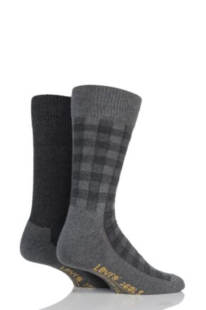 Mens 2 Pair Levis 168LS Graphic Check Cushioned Crew Socks Jet Black 9-11