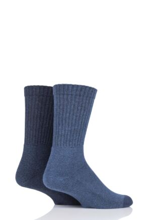Mens 2 Pair Levis 120SF Classic Rib Cushioned Socks Mid Denim 9-11