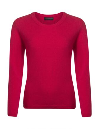 Ladies Great & British Knitwear 100% Extrafine Lambswool Round Neck Jumper Rose Small
