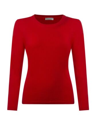 Ladies Great & British Knitwear 100% Extrafine Lambswool Round Neck Jumper Regal Red Small