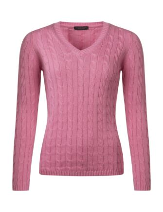 Ladies Great & British Knitwear 100% Cotton Cable & Rib V Neck Jumper