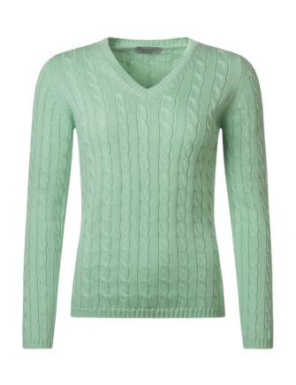 Ladies Great & British Knitwear 100% Cotton Cable & Rib V Neck Jumper Freya Medium