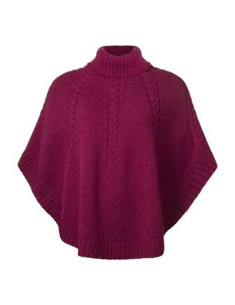Ladies Great & British Knitwear 100% Lambswool Cowl Neck Cape Rosehip One Size