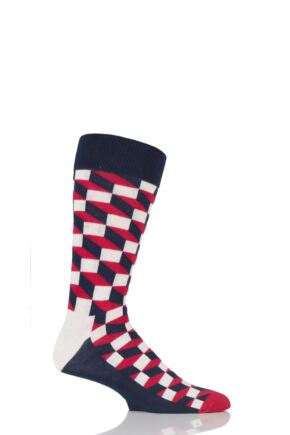 Mens and Ladies 1 Pair Happy Socks Filled Optic Combed Cotton Socks Red 7.5-11.5 Unisex