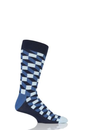 Mens and Ladies 1 Pair Happy Socks Filled Optic Combed Cotton Socks Blue 7.5-11.5 Unisex