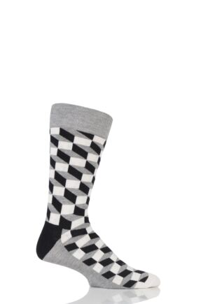 Mens and Ladies 1 Pair Happy Socks Filled Optic Combed Cotton Socks Grey 4-7 Unisex
