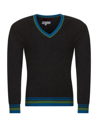 Mens Great & British Knitwear 100% Extrafine Lambswool 2 Colour Tipping V Neck Fitted Sweater