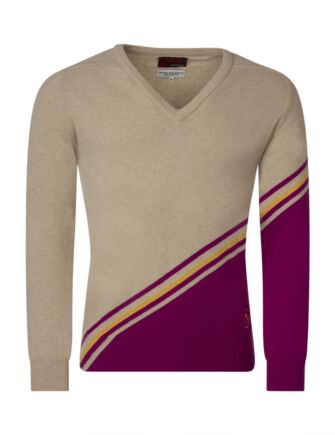 Mens Great & British Knitwear 100% Extrafine Lambswool Stripe Clash V Neck Fitted Sweater