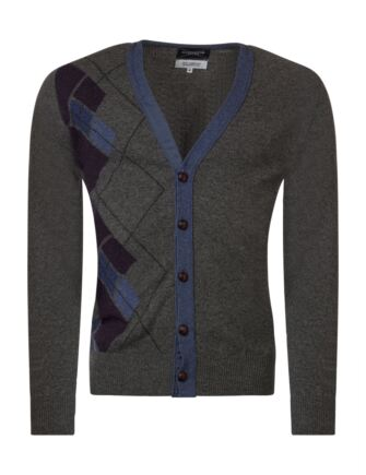 Mens Great & British Knitwear Scotland 100% Lambswool Argyle Half Front V Neck Cardigan Cliff Small