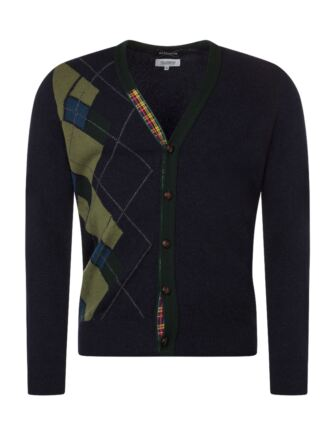 Mens Great & British Knitwear Scotland 100% Lambswool Argyle Half Front V Neck Cardigan