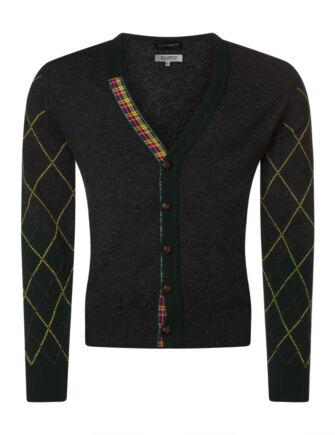 Mens Great & British Knitwear Scotland 100% Lambswool Argyle Arms V Neck Classic Fit Cardigan Charcoal XX Large