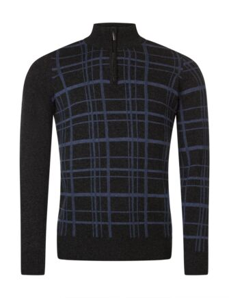 Mens Great & British Knitwear Scotland 100% Lambswool Grid Zip Through Cl Fit Sweater