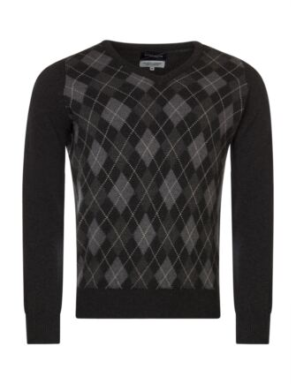 Mens Great & British Knitwear Scotland Touch Of Cashmere Argyle V Neck Classic Fit Sweater