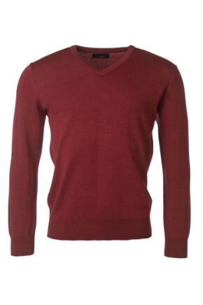 Mens Great & British Knitwear 100% Merino Plain V Neck Jumper Rouge F Xx-Large
