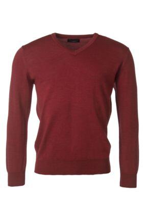 Mens Great & British Knitwear 100% Merino Plain V Neck Jumper Rouge C Medium